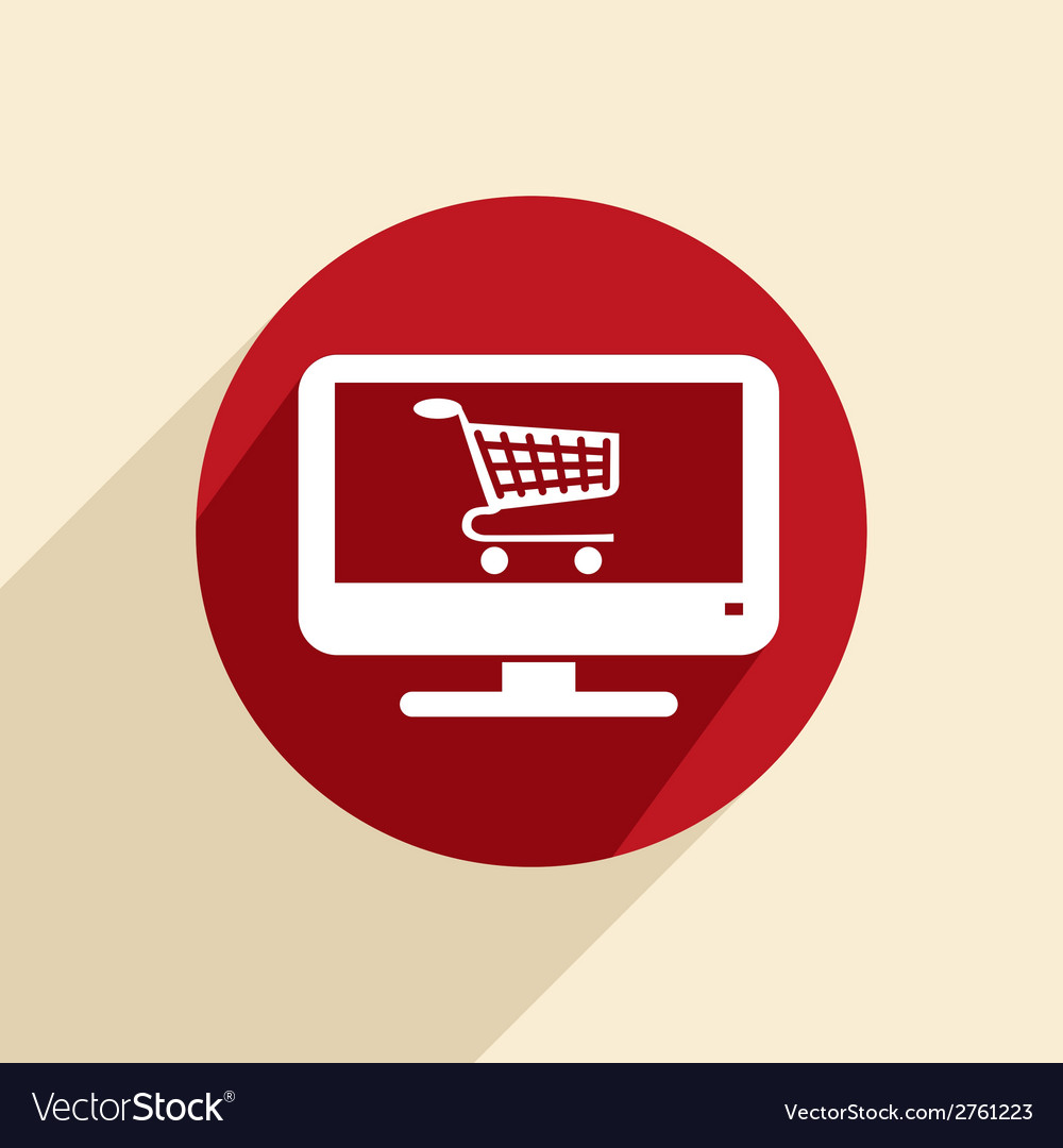 Monitor with symbol shopping cart