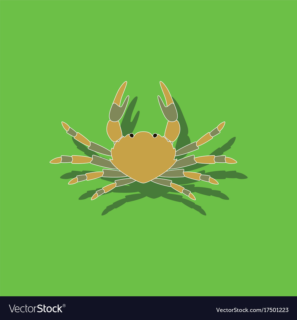 Paper sticker on background of crab