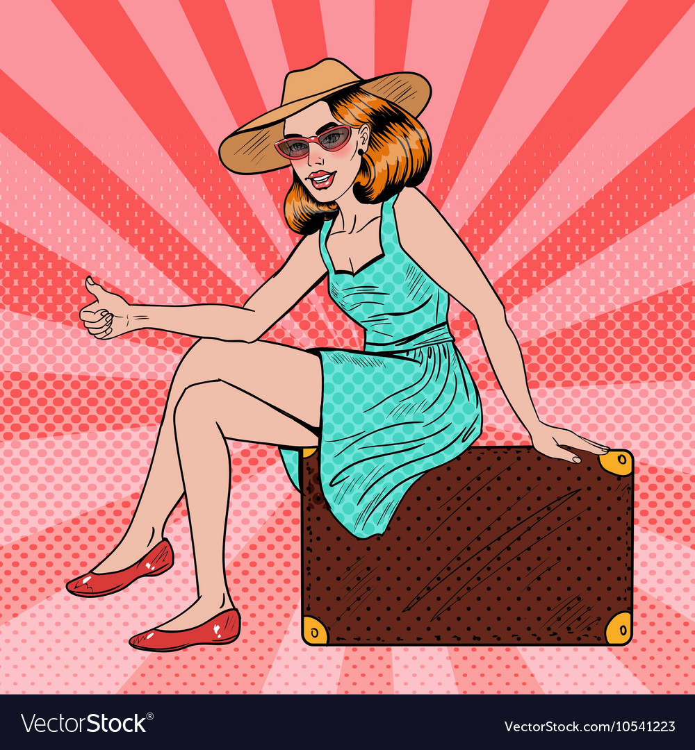 Pop Art Woman Traveler Hitchhiking on Suitcase vector image