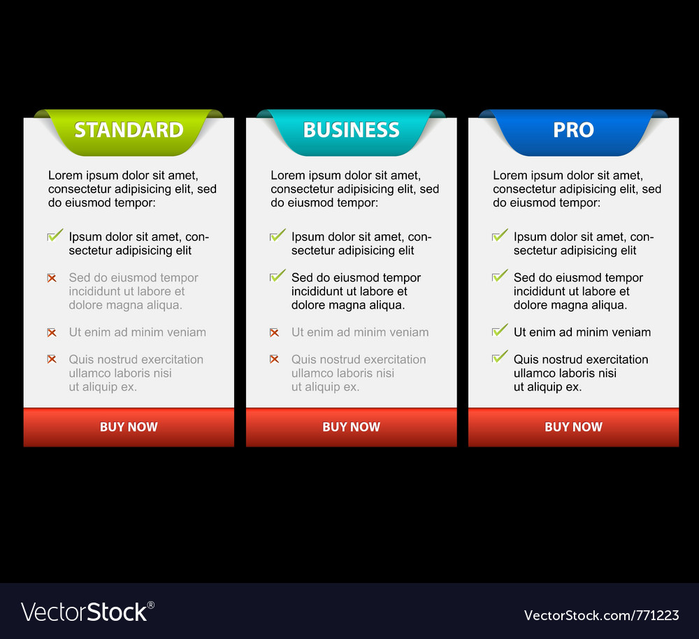 Product versions comparison cards vector image