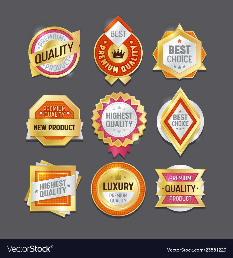 Quality label badge premium certificate design