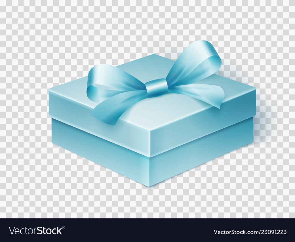 Realistic blue gift box with ribbon design