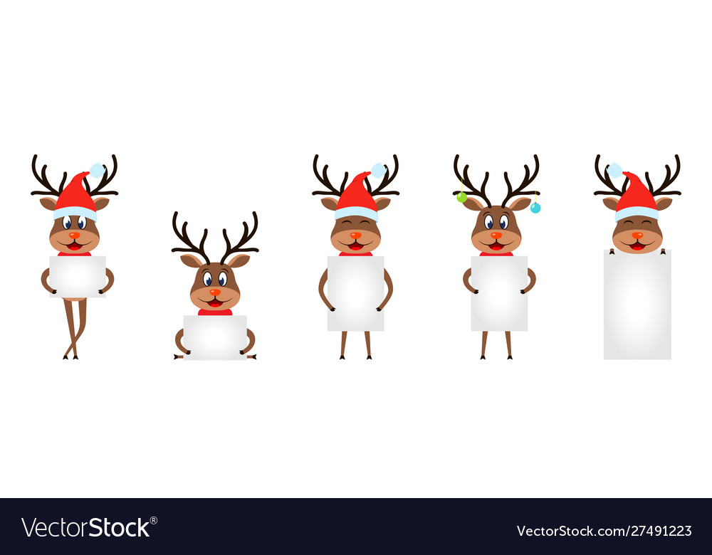 Set funny deers with sheets papers christmas