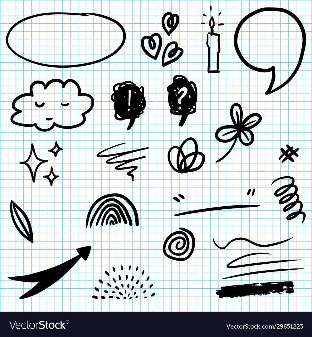 Set hand drawn design elements