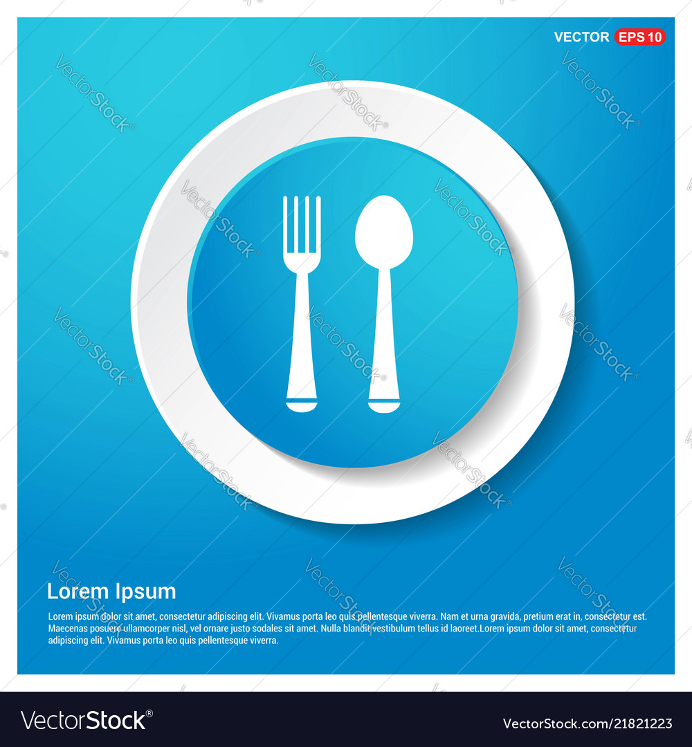 Spoon and fork icon abstract blue web sticker