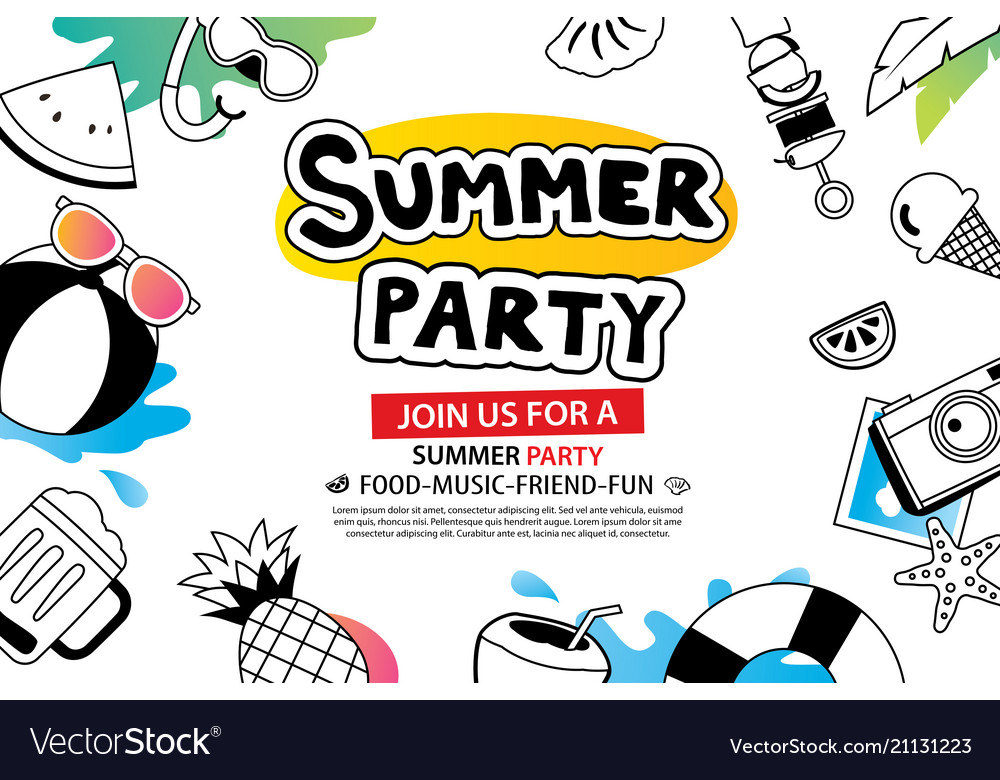 Summer party with doodle icon and design on white