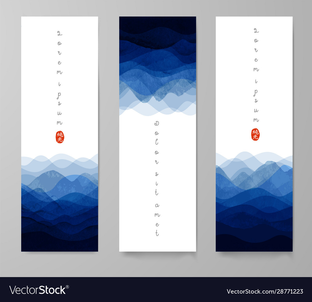 Three banners with blue waves on white background