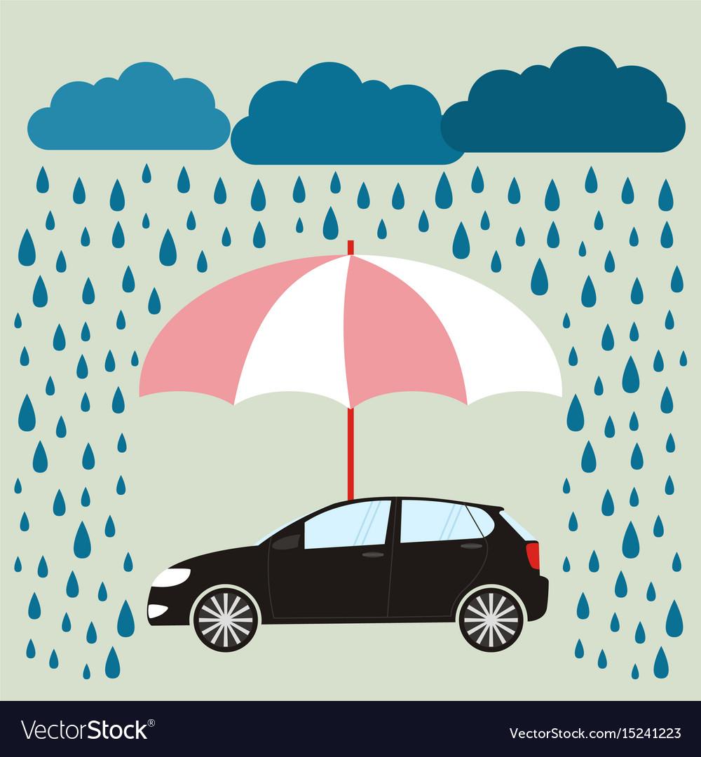 Umbrella Protecting Car Against Rain Flat Style