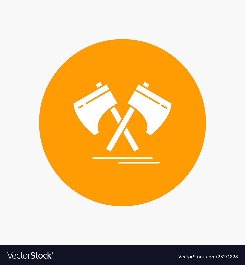 Axe hatchet tool cutter viking white glyph icon