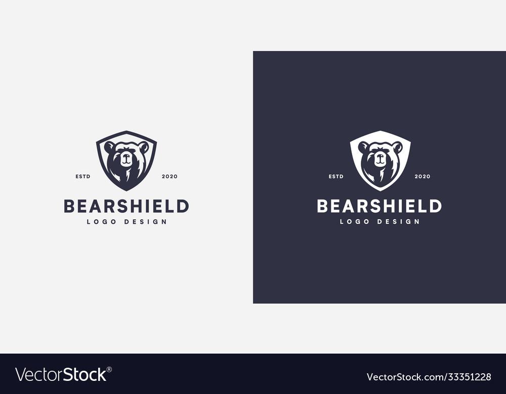 Bear shield head logo