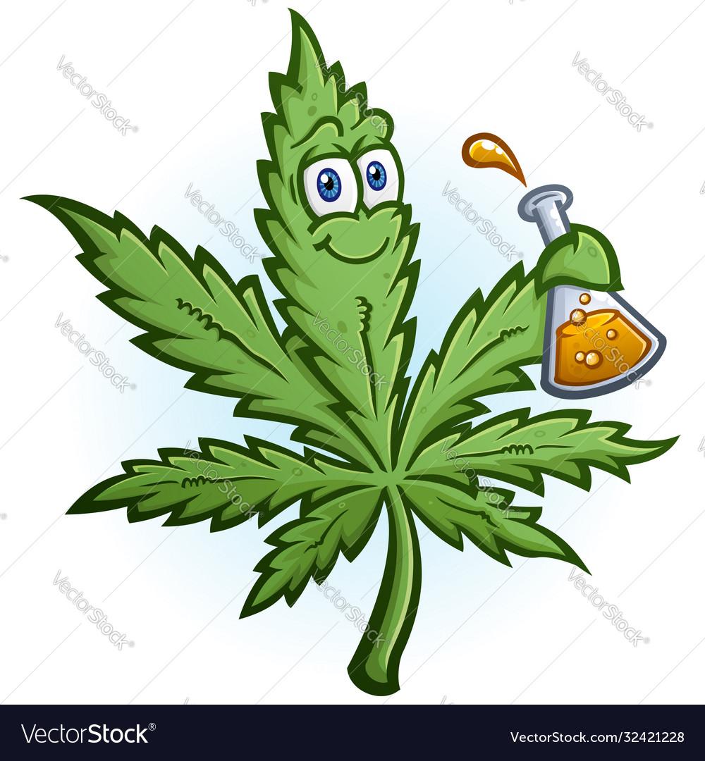 Cannabis oil science hemp leaf cartoon character