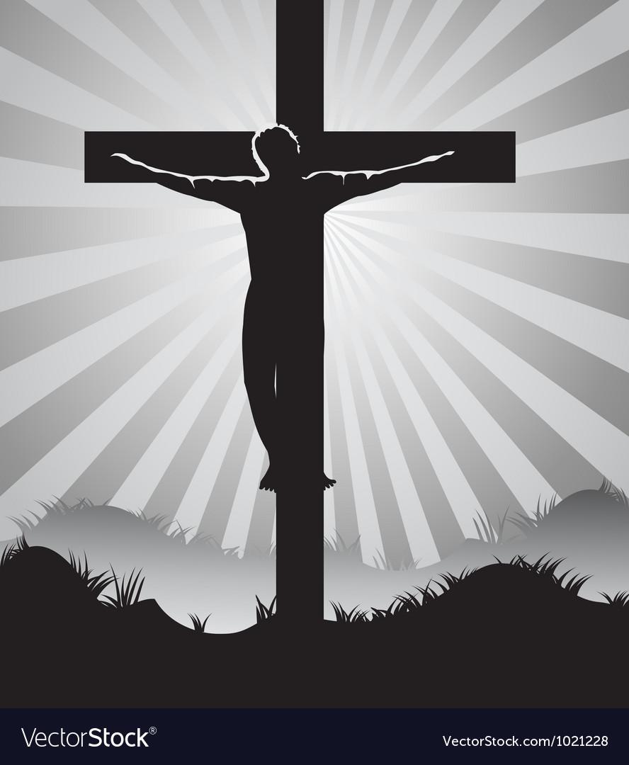Christian cross on Sunburst background vector image