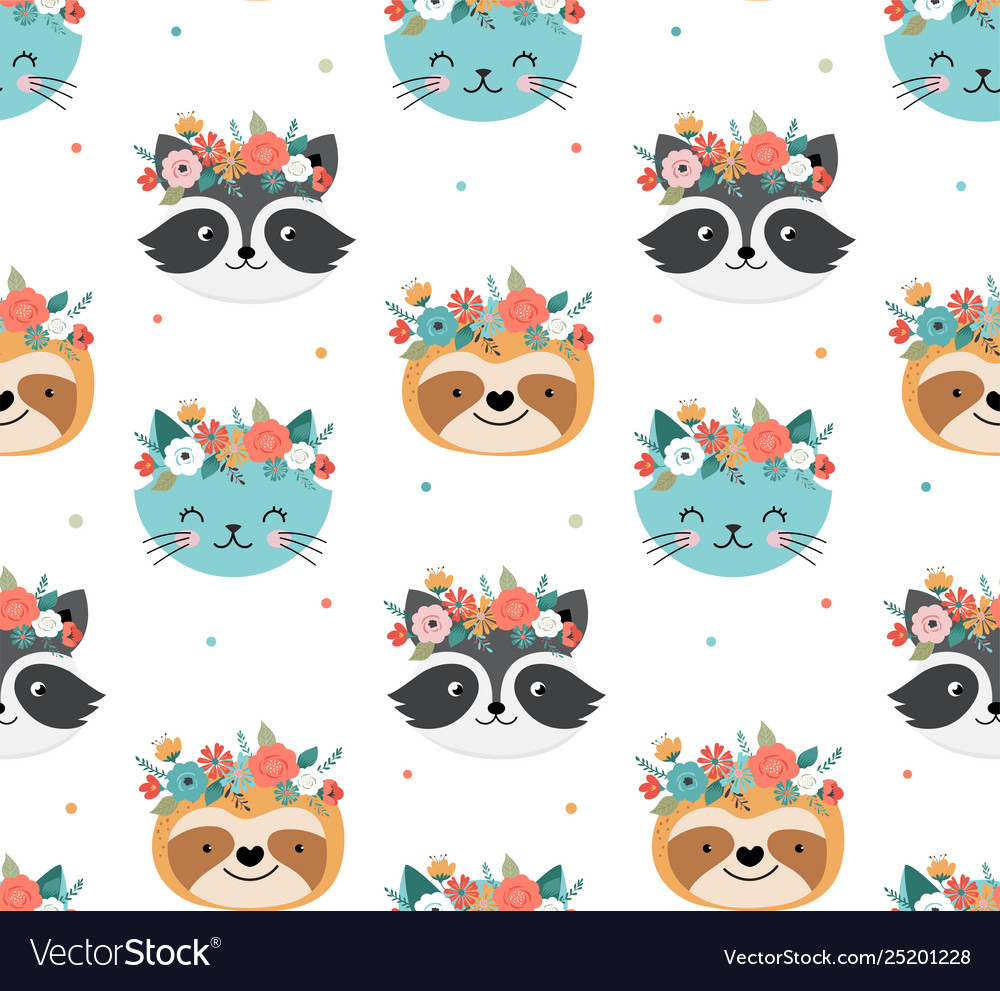 Cute racoon cat and sloth heads with flower crown