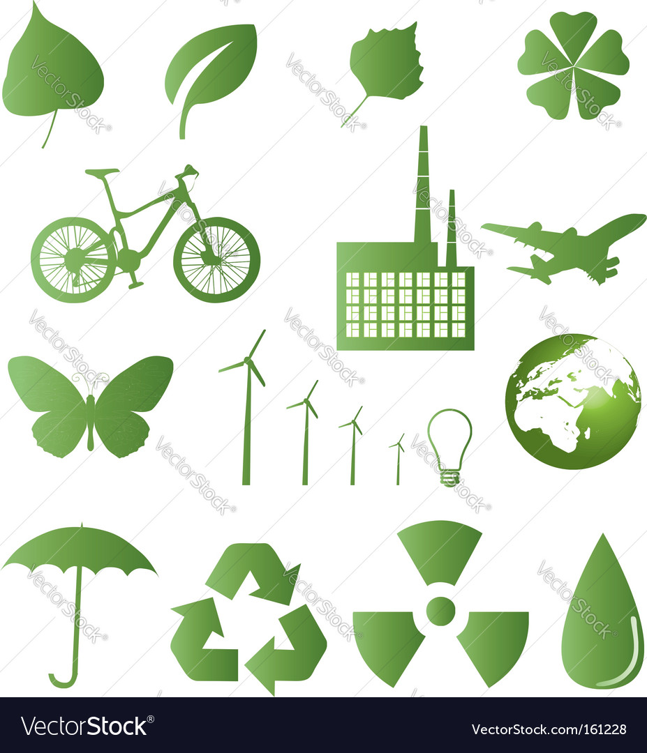Ecology and nature icons vector image