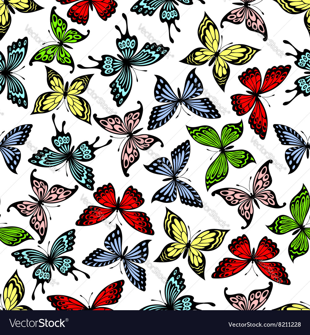 Flying butterflies insects seamless pattern