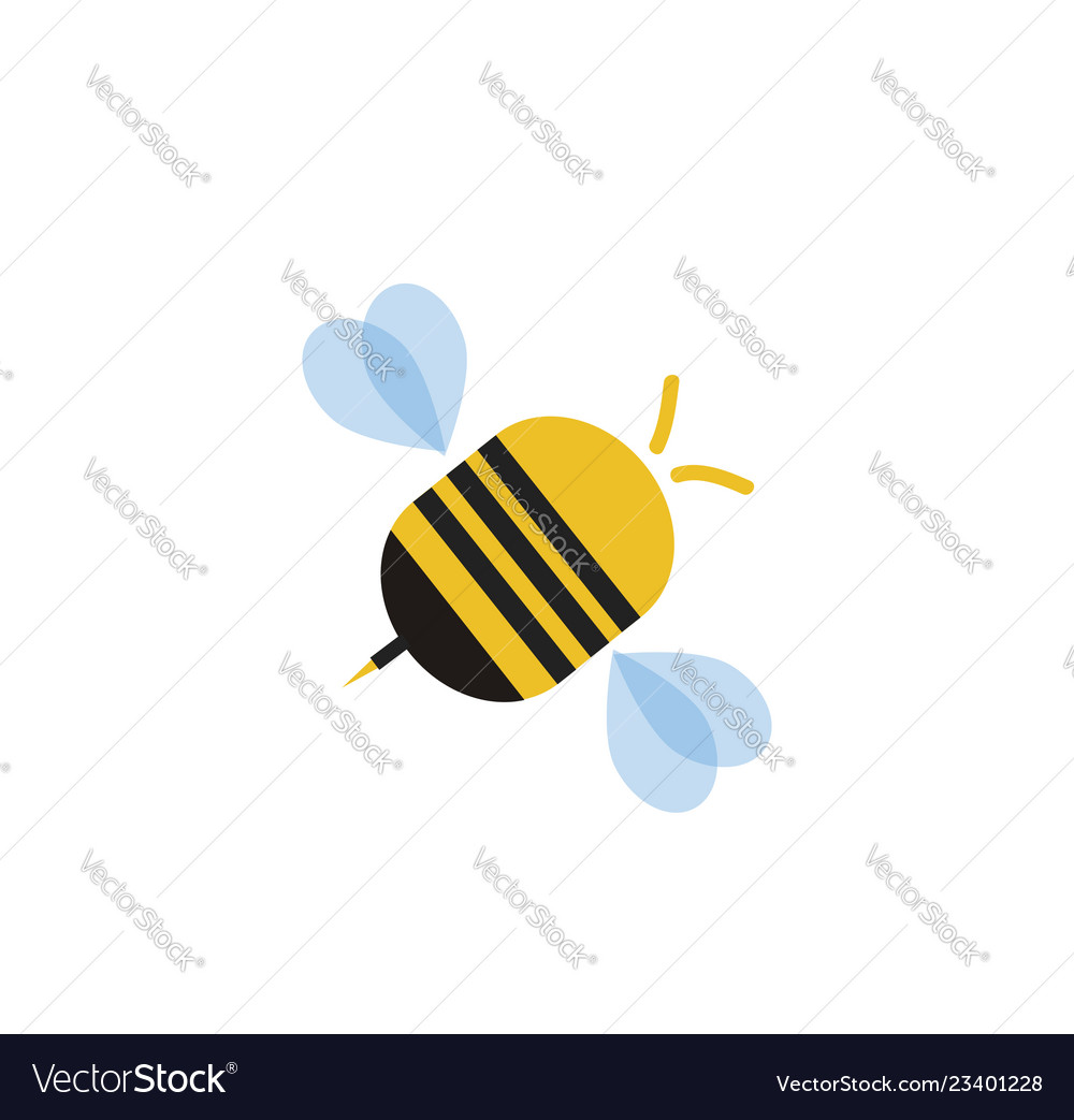 Flying cartoon bee isolated on white background