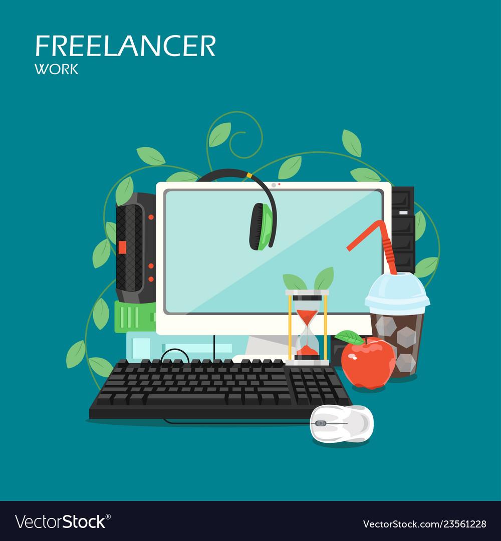 Freelancer work flat style design