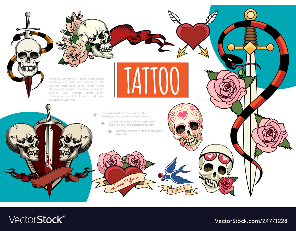 Hand drawn tattoo elements composition