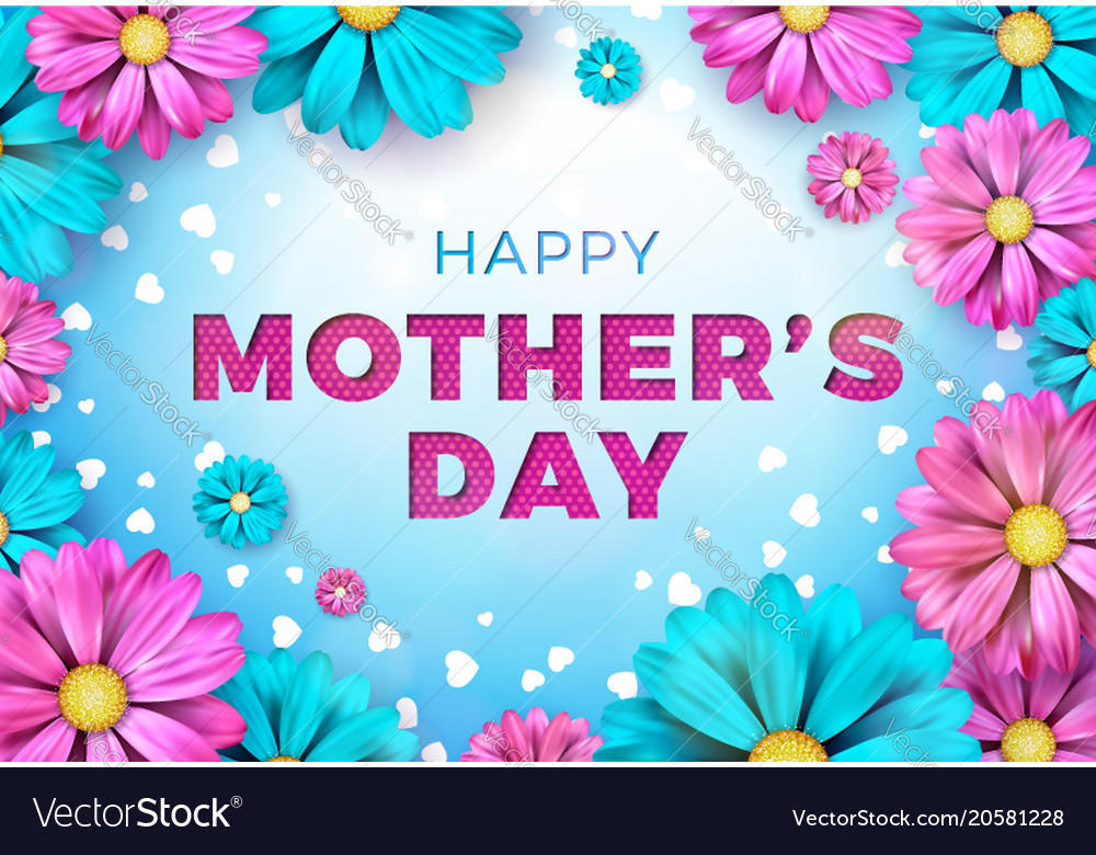 Happy mothers day greeting card design with flower happy mothers day greeting card design with flower vector image m4hsunfo