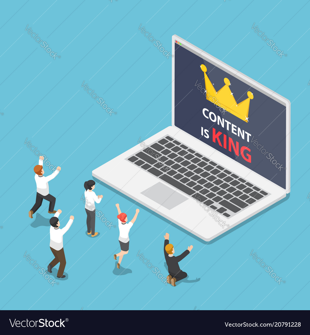 Isometric business people in front of laptop with
