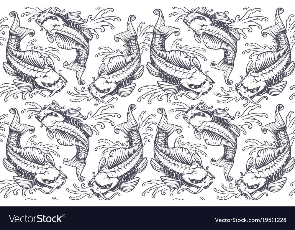 Koi carp seamless pattern version for white