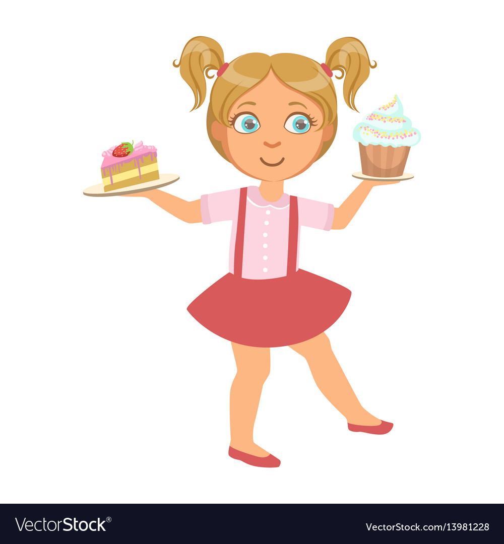 Little girl carring a piece of cake and a capcake vector image