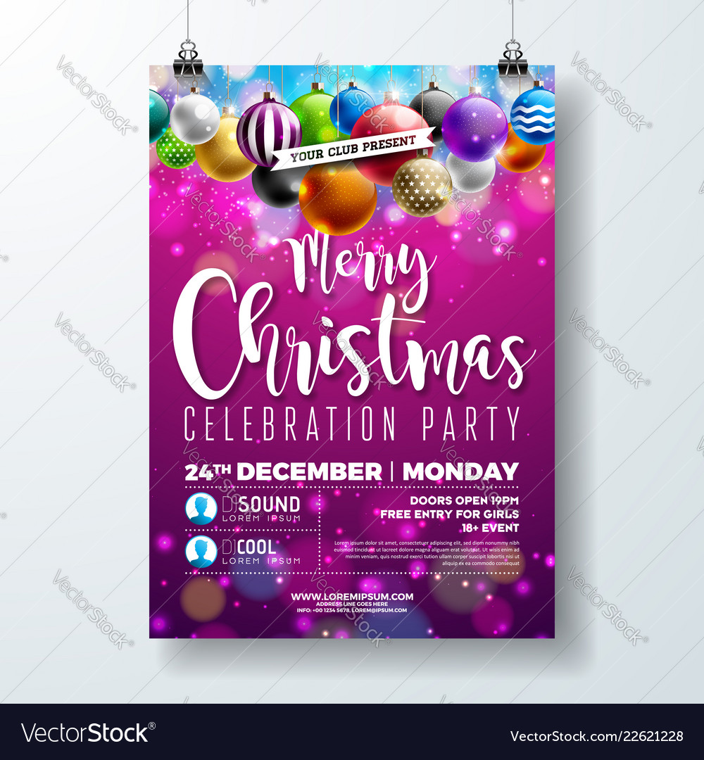 Merry christmas party flyer design with holiday