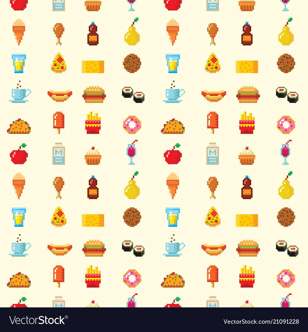 Pixel art food computer design seamless pattern