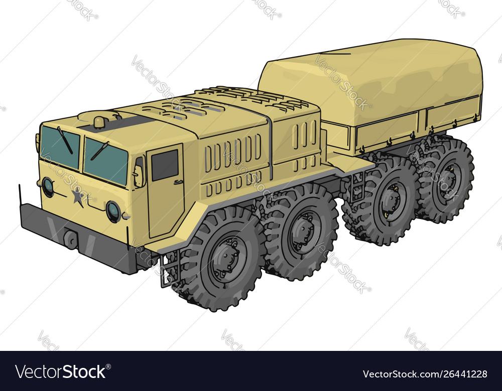 Sand military vehicle on white background