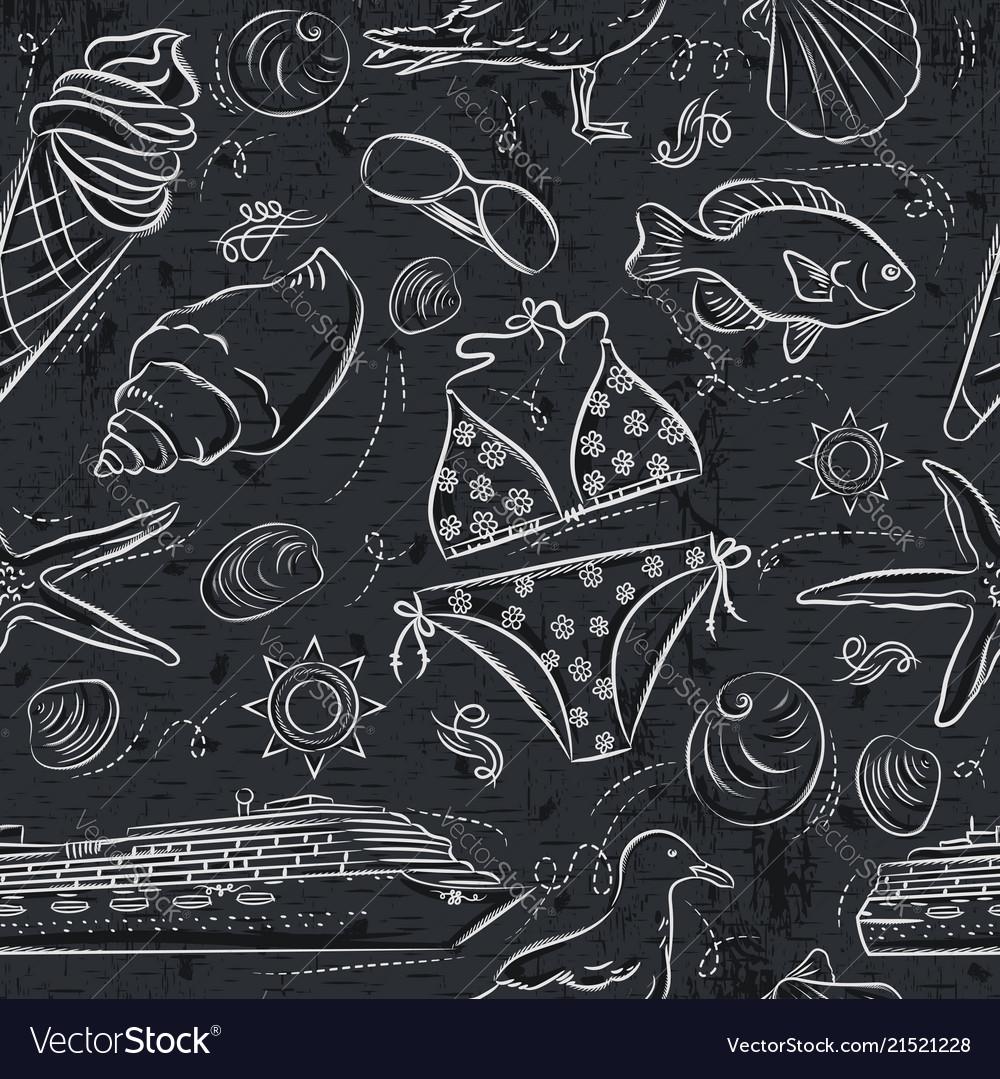 Seamless patterns with summer symbols ice cream