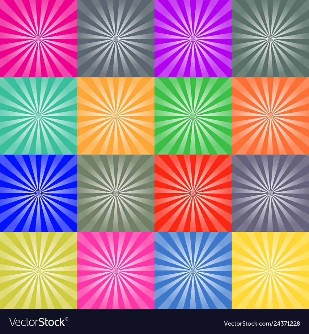 Set of retro ray backgrounds colorful