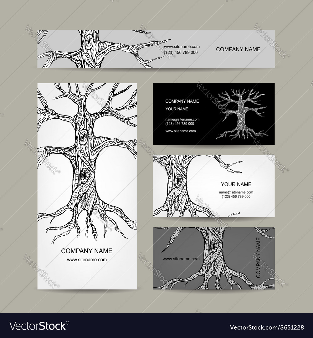 Tree with roots business cards design royalty free vector tree with roots business cards design vector image colourmoves