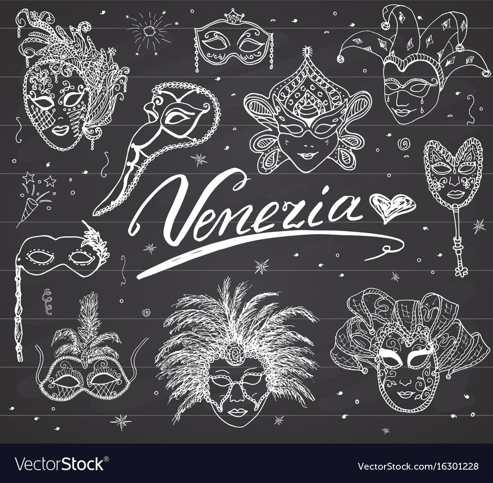Venice italy sketch carnival venetian masks hand