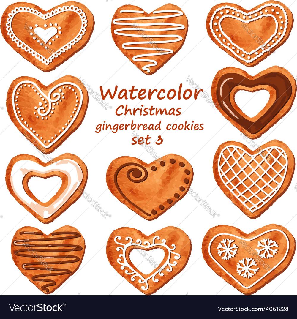 Watercolor heart gingerbread cookies