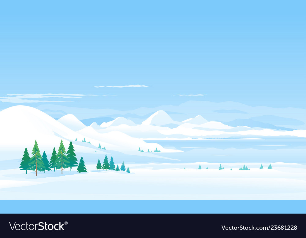 Winter lake in moutains landscape panorama