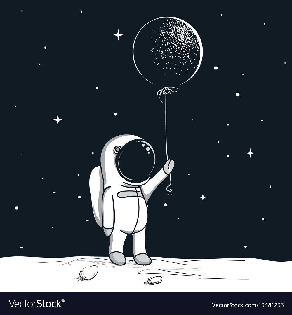 Adventure astronaut on the moon vector image