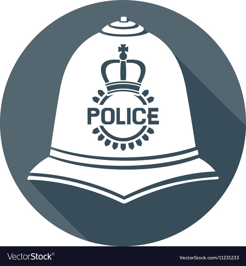 British Police Helmet Icon vector image