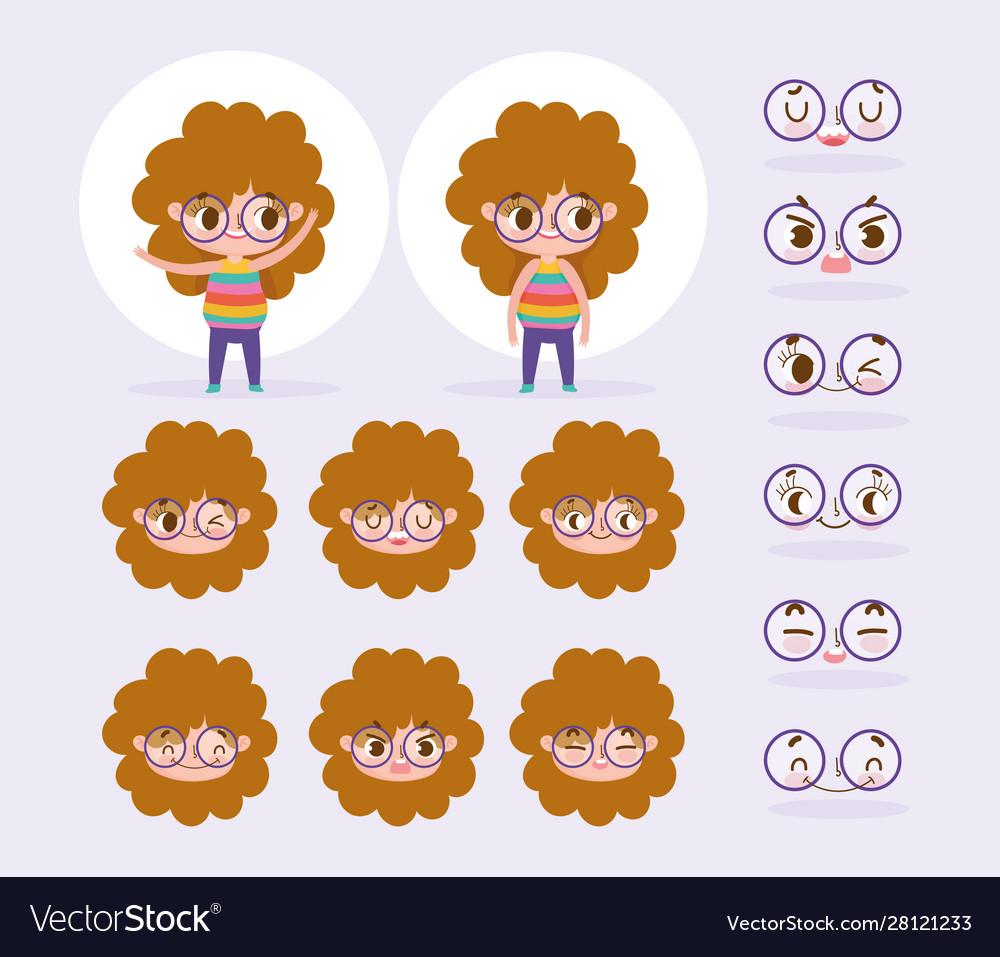 Cartoon Character Animation Little Girl Curly Hair