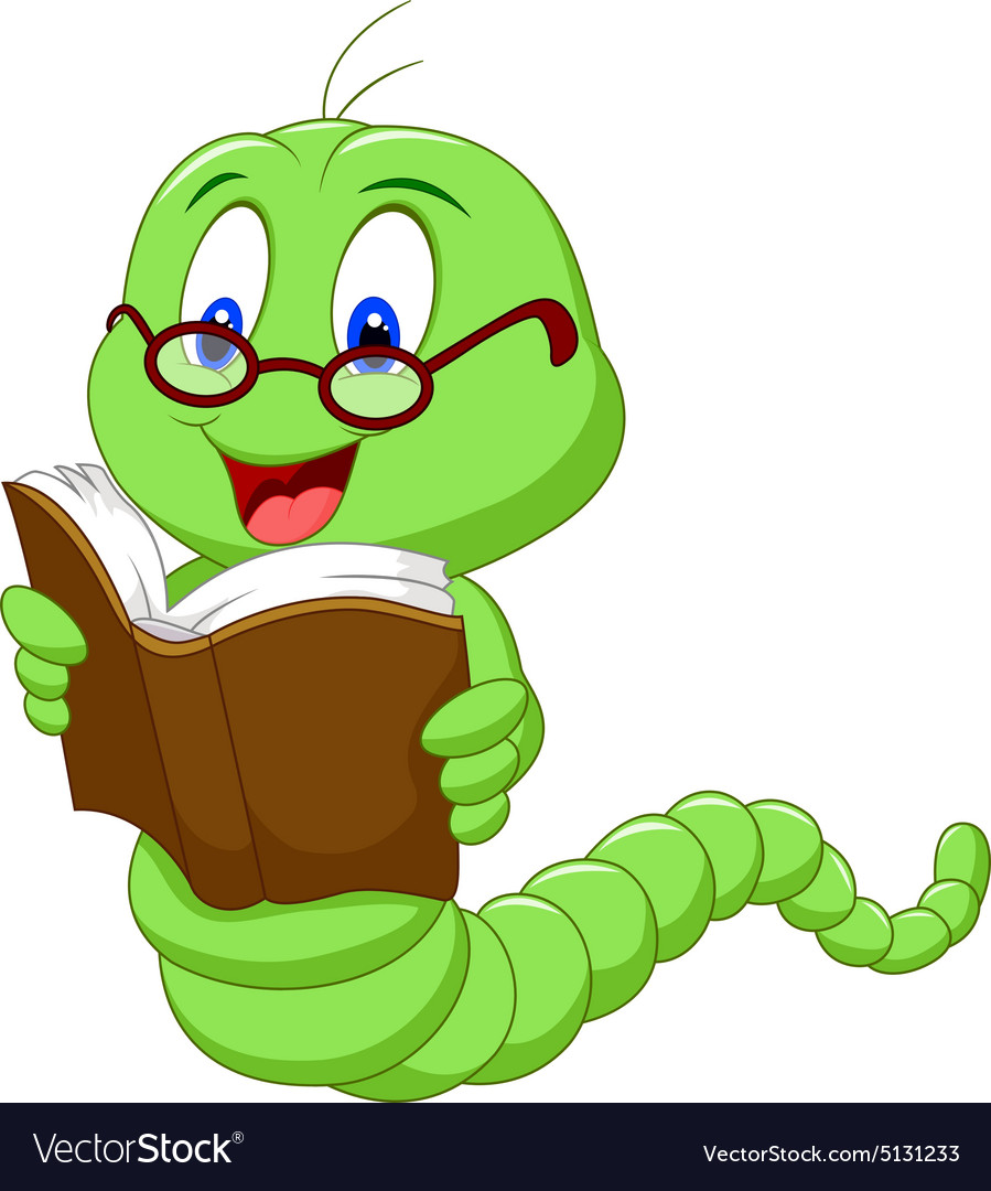 cartoon worm reading book royalty free vector image