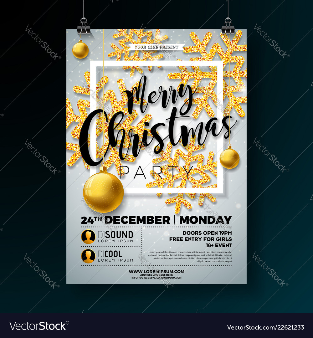 Christmas party flyer with shiny gold