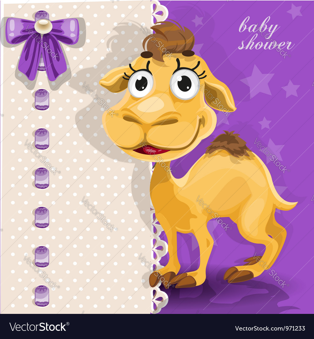 Delicate baby shower card with cute baby camel