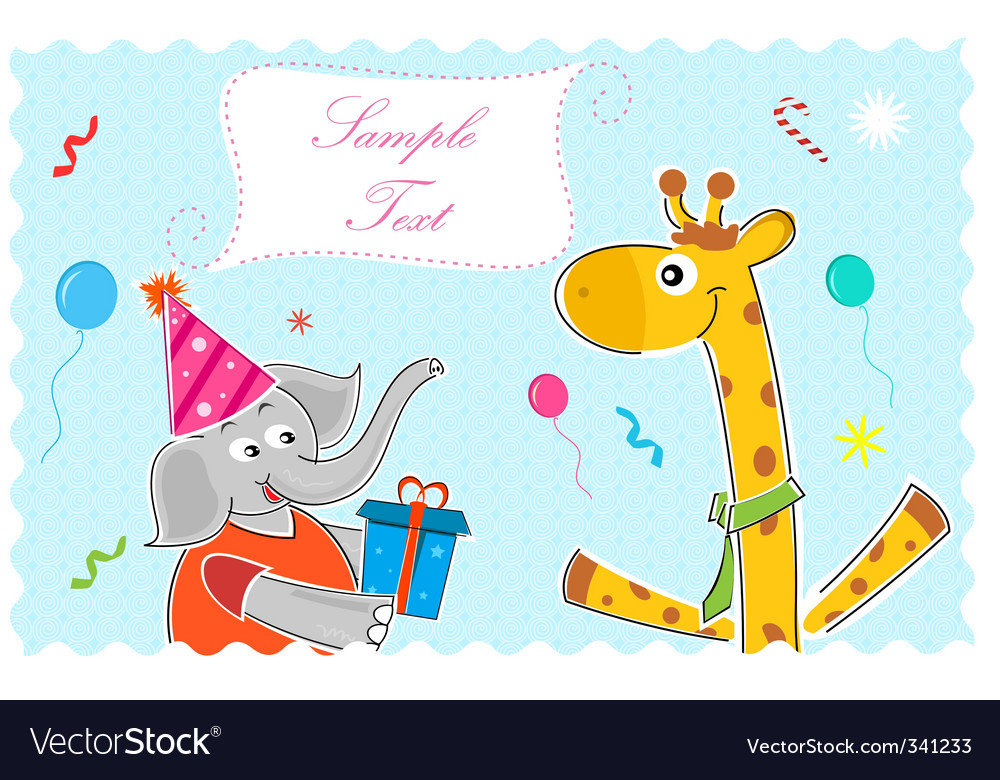 Elephant wishing giraffe happy birthday