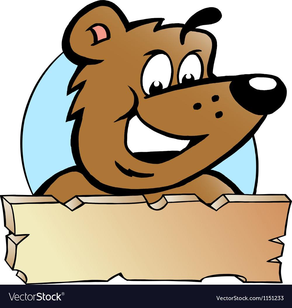 Hand-drawn of an Happy Proud Brown Bear - Logo