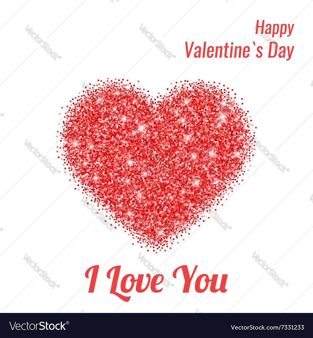 Happy Valentines Day Greeting Card with Red