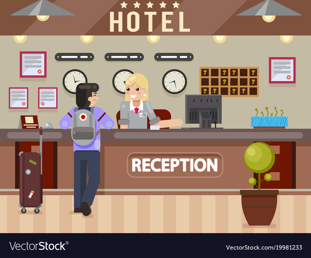 Hotel girl receptionist answers questions traveler