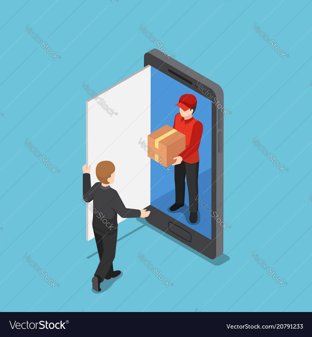 Isometric delivery man come out from smartphone