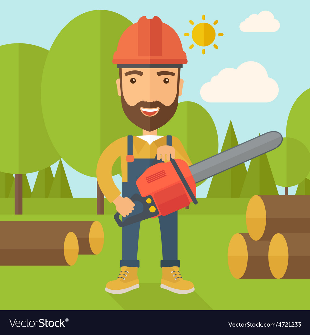 Lumberjack cuts a tree by chainsaw vector image