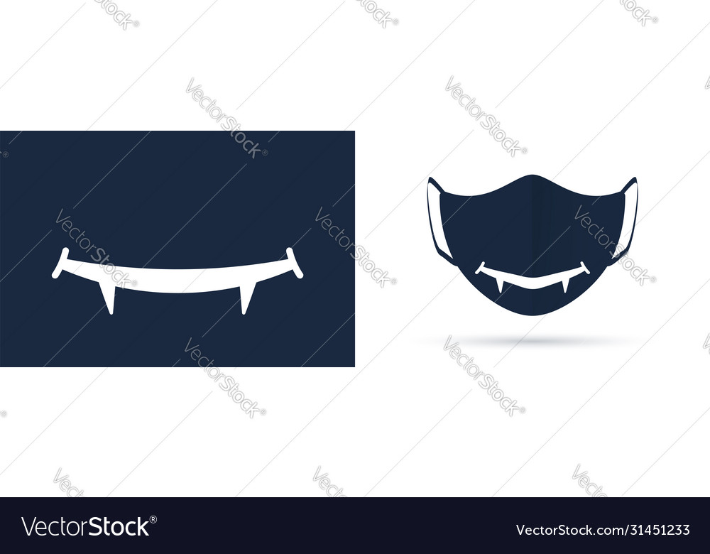 Mouth with canines protective mask design template