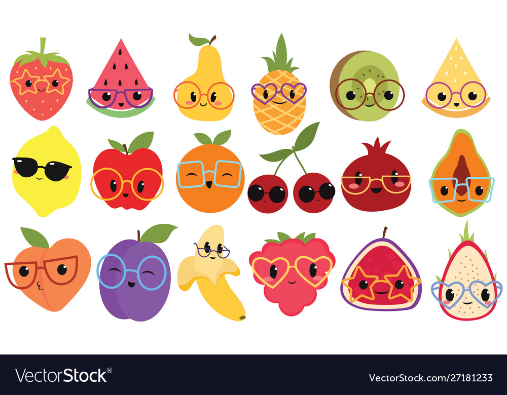 Set cartoon fruits with glasses collection of