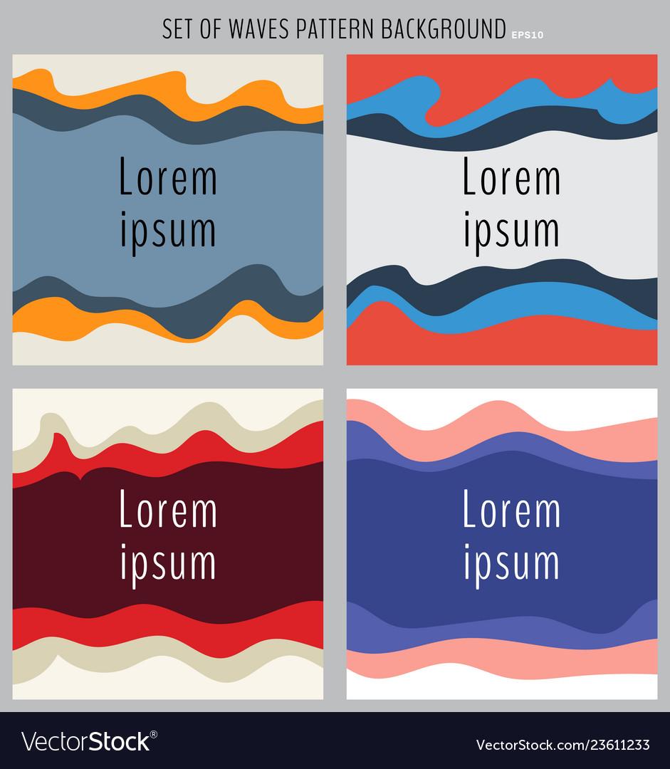 Set multicolor wave design element background
